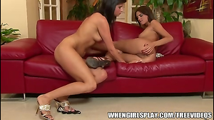 Long-legged lesbians make love on the red couch