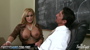 Busty blonde passes exam with the mouthful of teacher's sperm