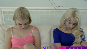 Dazzling blondes are hypnotized by tricky buddy