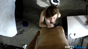 Petite redhead rides massive ramrod in bed