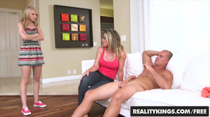 Teen couple gets busted and MILF decides to join the fun