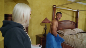 Deranged MILF with big boobs fucks a young black guy