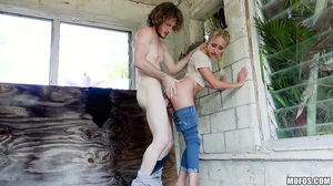 Braided blonde gets fucked in an abandoned building
