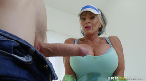 Horny granny helping a young boy in the bathroom