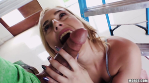 Short haired blonde getting banged by the ladder