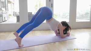 Thick yoga girl enjoying hardcore sex on the mat