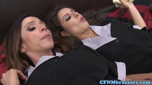 Slutty maids sharing a handsome guy's huge cock