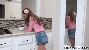 Cute petite teen sucks a big cock in a POV video