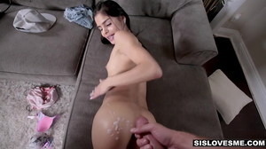 Petite bruente rides her stepbrother from his POV