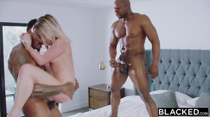 Two black dudes are double teaming a blonde in HD