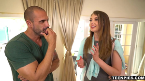 Teenage brunette is creampied by a hunky dude