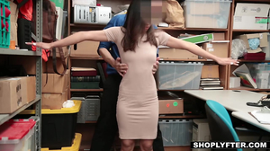 Shoplifting Asian chick stripped down and fucked