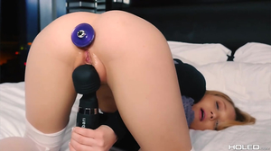 Tiny 18 year old chick gets rimmed hard in her asshole