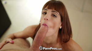 Petite long-haired 19yo chick gets served big white cock