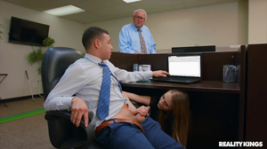 Office sex with the young intern and horny man