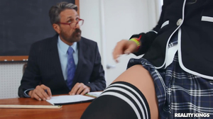 Bracefaced blonde schoolgirl is seducing the prof