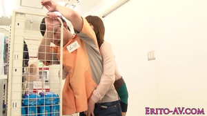 Cutie is eaten out and fucked at the grocery store