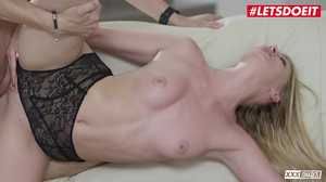 Spreading the tight shaved pussy of a blonde starlet