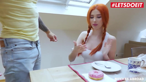 Pale babe with orange doll is used like a fuckdoll